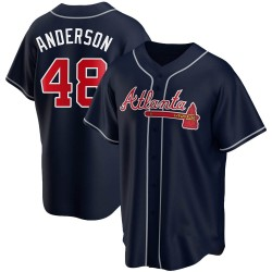 Ian Anderson Atlanta Braves Youth Replica Alternate Jersey - Navy
