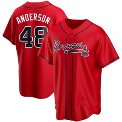 Ian Anderson Atlanta Braves Youth Replica Alternate Jersey - Red