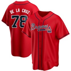 Jasseel De La Cruz Atlanta Braves Men's Replica Alternate Jersey - Red