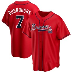 Jeff Burroughs Atlanta Braves Men's Replica Alternate Jersey - Red