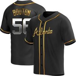 Jim Bouton Atlanta Braves Men's Replica Alternate Jersey - Black Golden
