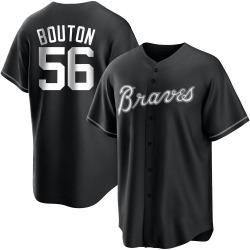 Jim Bouton Atlanta Braves Men's Replica Black/ Jersey - White