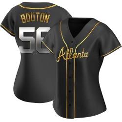Jim Bouton Atlanta Braves Women's Replica Alternate Jersey - Black Golden