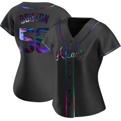 Jim Bouton Atlanta Braves Women's Replica Alternate Jersey - Black Holographic