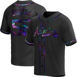 Jim Bouton Atlanta Braves Youth Replica Alternate Jersey - Black Holographic