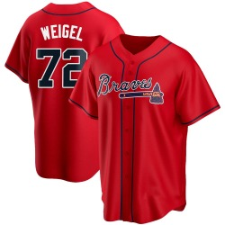 Patrick Weigel Atlanta Braves Men's Replica Alternate Jersey - Red