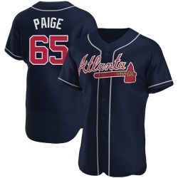 Satchel Paige Atlanta Braves Men's Authentic Alternate Jersey - Navy